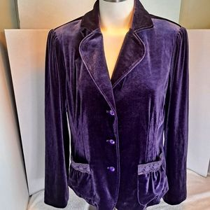 Purple Velvet Blazer Jacket Lace & Sequin Trim
